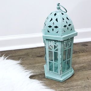 Adorable Rustic Mint Metal Candle Lantern